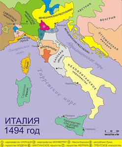 Карта Италии– 1494 год