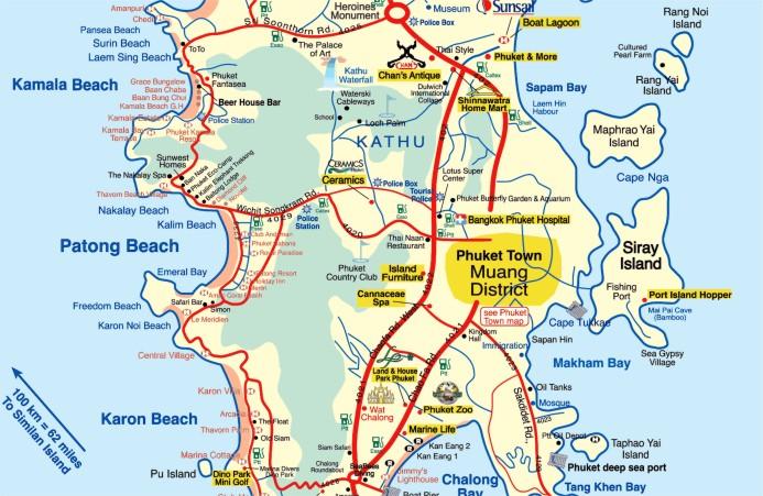 Районы острова пхукет на карте