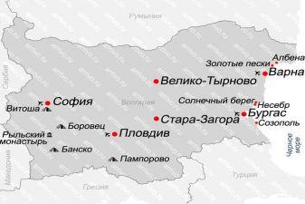 Карта Болгарии курорты, побережье
