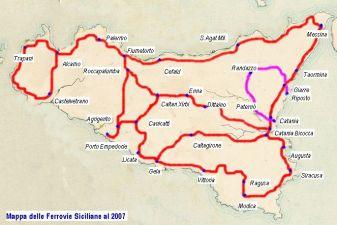 Схема железных дорог Сицилии