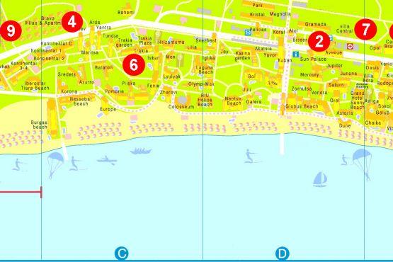 Карта Солнечного берега с отелями