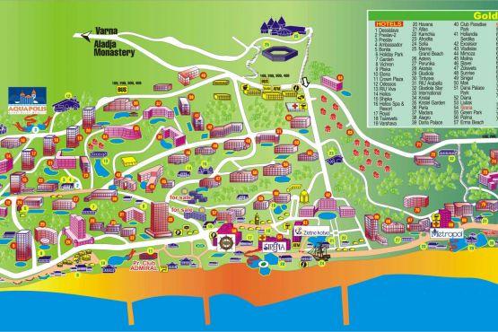 Карта Золотых песков с отелями