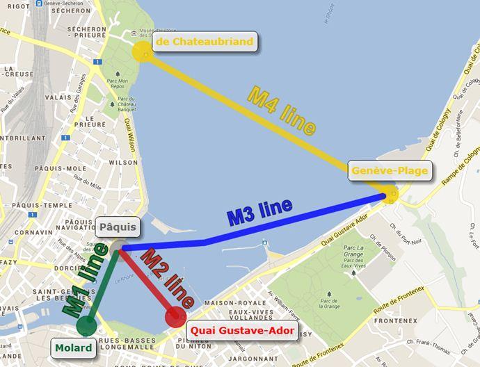Карта водных маршрутов в Женеве