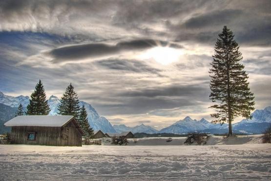 Зимний пейзаж в Баварии