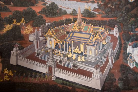 Тайланд фото – Большой королевский дворец Бангкока на старой фреске