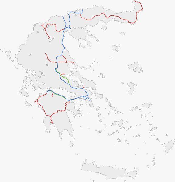 Греция фото- Схема железнодорожных путей в Греции.