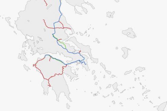 Схема железнодорожных путей в Греции