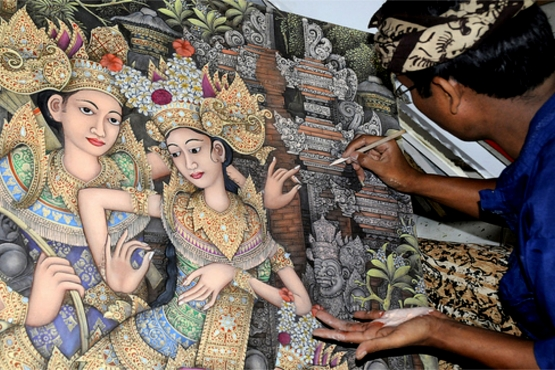 Балийский ремесленник за работой