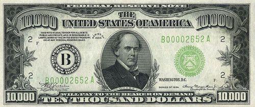Купюра 10 000 $ с портретом Чейза