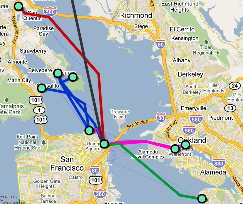 Карта паромного сообщения Сан-Франциско