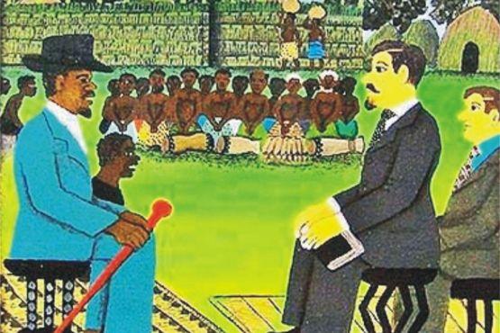 Замбия фото – Представитель Британской южноафриканской компании встречается с одним из вождей
