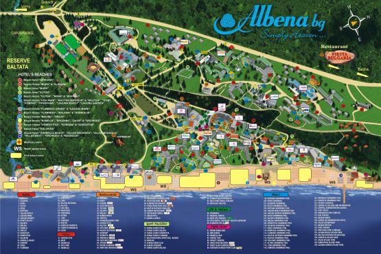 Карта Албены с отелями