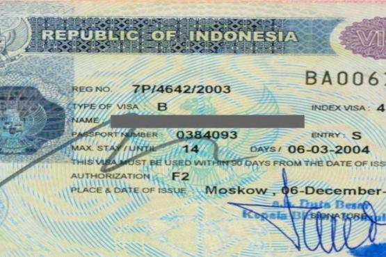 Внешний вид визы в Индонезию